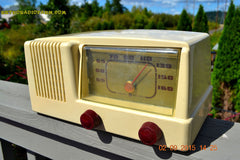 SOLD! - Jan 14, 2016 - BLUETOOTH MP3 READY - Antique Ivory Colored Mid Century Retro Vintage 1950 General Electric Model 401 AM Tube Radio Totally Restored! , Vintage Radio - General Electric, Retro Radio Farm  - 1
