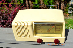 SOLD! - Jan 14, 2016 - BLUETOOTH MP3 READY - Antique Ivory Colored Mid Century Retro Vintage 1950 General Electric Model 401 AM Tube Radio Totally Restored! , Vintage Radio - General Electric, Retro Radio Farm  - 5