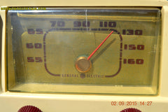 SOLD! - Jan 14, 2016 - BLUETOOTH MP3 READY - Antique Ivory Colored Mid Century Retro Vintage 1950 General Electric Model 401 AM Tube Radio Totally Restored! , Vintage Radio - General Electric, Retro Radio Farm  - 8