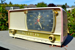 SOLD! - Oct 21, 2016 - BEAUTIFUL Powder Pink And White Retro Jetsons 1956 RCA Victor 9-C-71 Tube AM Clock Radio WORKS! - [product_type} - Vintage Radio - Retro Radio Farm