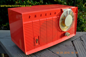 SOLD! - June 4, 2016 - BLUETOOTH MP3 READY - Salmon Pink Retro Mid Century Jetsons Vintage 1958 Philco E-814-124 AM Tube Radio WORKS! , Vintage Radio - Philco, Retro Radio Farm  - 2
