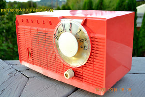 SOLD! - June 4, 2016 - BLUETOOTH MP3 READY - Salmon Pink Retro Mid Century Jetsons Vintage 1958 Philco E-814-124 AM Tube Radio WORKS! - [product_type} - Philco - Retro Radio Farm