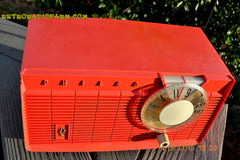 SOLD! - June 4, 2016 - BLUETOOTH MP3 READY - Salmon Pink Retro Mid Century Jetsons Vintage 1958 Philco E-814-124 AM Tube Radio WORKS! , Vintage Radio - Philco, Retro Radio Farm  - 3