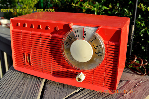 SOLD! - June 4, 2016 - BLUETOOTH MP3 READY - Salmon Pink Retro Mid Century Jetsons Vintage 1958 Philco E-814-124 AM Tube Radio WORKS!