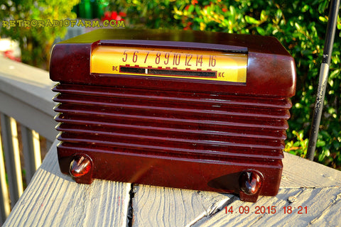 SOLD! - Nov 23, 2015 - BLUETOOTH MP3 READY - Post WWII 1952 Wards Airline Model 05BR-1525C AM Brown Bakelite Tube Radio Totally Restored!
