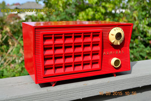 SOLD! - Sept 25, 2015 - BLUETOOTH MP3 READY - Lipstick Red Retro Jetsons 1955 Admiral Model 5R3 Tube AM Radio Totally Restored! , Vintage Radio - Admiral, Retro Radio Farm  - 3