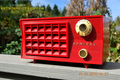 SOLD! - Sept 25, 2015 - BLUETOOTH MP3 READY - Lipstick Red Retro Jetsons 1955 Admiral Model 5R3 Tube AM Radio Totally Restored! , Vintage Radio - Admiral, Retro Radio Farm  - 4