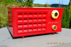 SOLD! - Sept 25, 2015 - BLUETOOTH MP3 READY - Lipstick Red Retro Jetsons 1955 Admiral Model 5R3 Tube AM Radio Totally Restored! , Vintage Radio - Admiral, Retro Radio Farm  - 1