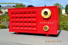SOLD! - Sept 25, 2015 - BLUETOOTH MP3 READY - Lipstick Red Retro Jetsons 1955 Admiral Model 5R3 Tube AM Radio Totally Restored! , Vintage Radio - Admiral, Retro Radio Farm  - 2