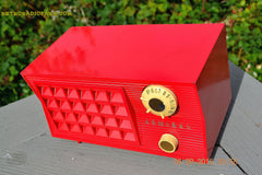 SOLD! - Sept 25, 2015 - BLUETOOTH MP3 READY - Lipstick Red Retro Jetsons 1955 Admiral Model 5R3 Tube AM Radio Totally Restored! , Vintage Radio - Admiral, Retro Radio Farm  - 6