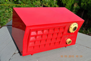 SOLD! - Sept 25, 2015 - BLUETOOTH MP3 READY - Lipstick Red Retro Jetsons 1955 Admiral Model 5R3 Tube AM Radio Totally Restored! - [product_type} - Admiral - Retro Radio Farm