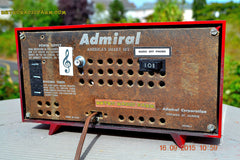 SOLD! - Sept 25, 2015 - BLUETOOTH MP3 READY - Lipstick Red Retro Jetsons 1955 Admiral Model 5R3 Tube AM Radio Totally Restored! , Vintage Radio - Admiral, Retro Radio Farm  - 8