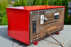 SOLD! - Sept 25, 2015 - BLUETOOTH MP3 READY - Lipstick Red Retro Jetsons 1955 Admiral Model 5R3 Tube AM Radio Totally Restored! , Vintage Radio - Admiral, Retro Radio Farm  - 9