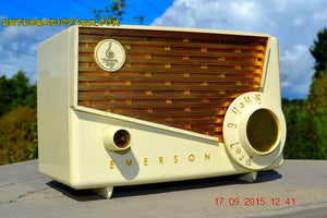 SOLD! - Jan 9, 2016 - BLUETOOTH MP3 READY - Rococco Ivory and Gold Retro Vintage 1957 Emerson 851 AM Tube Radio Totally Restored! - [product_type} - Emerson - Retro Radio Farm