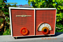Load image into Gallery viewer, SOLD! - Sept 2, 2016 - WACKY LOOKING Coral And White  Retro Jetsons Vintage 1957 Philco H836-124 AM Tube Radio Works! - [product_type} - Philco - Retro Radio Farm