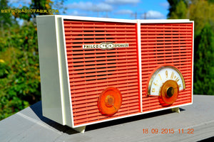 SOLD! - Sept 2, 2016 - WACKY LOOKING Coral And White  Retro Jetsons Vintage 1957 Philco H836-124 AM Tube Radio Works! - [product_type} - Philco - Retro Radio Farm