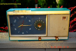 SOLD! - Aug 22, 2017 - TURQUOISE Mid Century Vintage Retro Westinghouse Model H718T5 AM Tube Radio Alarm Clock Works! - [product_type} - Westinghouse - Retro Radio Farm