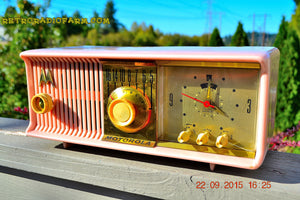 SOLD! - Oct 28, 2016 - PRINCESS PINK Retro Jetsons 1957 Motorola 57CC Tube AM Clock Radio Totally Restored! - [product_type} - Motorola - Retro Radio Farm