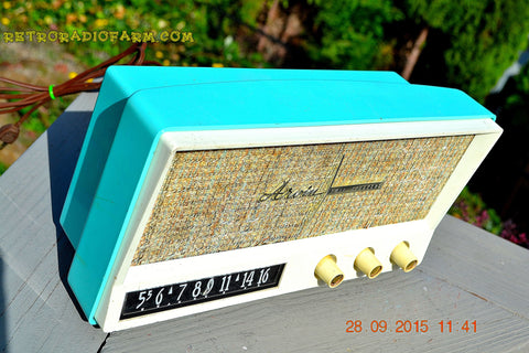SOLD! - Dec 17, 2015 - BLUETOOTH MP3 READY - AQUAMARINE BLUE Retro Jetsons Vintage 1959 Arvin 2585 AM Tube Radio WORKS!