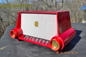 SOLD! - Mar 13, 2016 - CIMARRON RED Dashboard Mid Century Retro Jetsons 1953 Motorola 53H Tube AM Radio Works! , Vintage Radio - Motorola, Retro Radio Farm  - 6