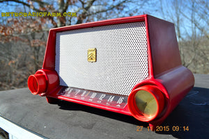 SOLD! - Mar 13, 2016 - CIMARRON RED Dashboard Mid Century Retro Jetsons 1953 Motorola 53H Tube AM Radio Works! , Vintage Radio - Motorola, Retro Radio Farm  - 2
