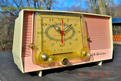 SOLD! - Dec 14, 2015 - BLUETOOTH MP3 READY - Pink and White Retro Jetsons Vintage 1957 RCA C-4FE AM Tube Clock Radio Totally Restored! , Vintage Radio - RCA Victor, Retro Radio Farm  - 1