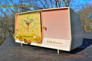 SOLD! - Dec 14, 2015 - BLUETOOTH MP3 READY - Pink and White Retro Jetsons Vintage 1957 RCA C-4FE AM Tube Clock Radio Totally Restored! - [product_type} - RCA Victor - Retro Radio Farm