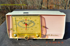 SOLD! - Dec 14, 2015 - BLUETOOTH MP3 READY - Pink and White Retro Jetsons Vintage 1957 RCA C-4FE AM Tube Clock Radio Totally Restored! , Vintage Radio - RCA Victor, Retro Radio Farm  - 3
