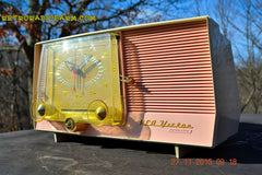 SOLD! - Dec 14, 2015 - BLUETOOTH MP3 READY - Pink and White Retro Jetsons Vintage 1957 RCA C-4FE AM Tube Clock Radio Totally Restored! , Vintage Radio - RCA Victor, Retro Radio Farm  - 2