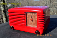 SOLD! - Jan 8, 2016 - LIPSTICK RED Vintage Deco Retro 1948 Philco Transitone 48-200 AM Bakelite Tube Radio Works! Wow! , Vintage Radio - Philco, Retro Radio Farm  - 4