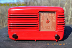 SOLD! - Jan 8, 2016 - LIPSTICK RED Vintage Deco Retro 1948 Philco Transitone 48-200 AM Bakelite Tube Radio Works! Wow! , Vintage Radio - Philco, Retro Radio Farm  - 3