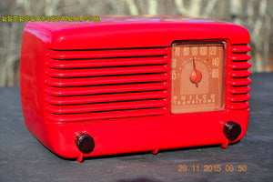 SOLD! - Jan 8, 2016 - LIPSTICK RED Vintage Deco Retro 1948 Philco Transitone 48-200 AM Bakelite Tube Radio Works! Wow! - [product_type} - Philco - Retro Radio Farm