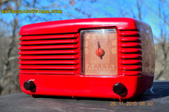 SOLD! - Jan 8, 2016 - LIPSTICK RED Vintage Deco Retro 1948 Philco Transitone 48-200 AM Bakelite Tube Radio Works! Wow! , Vintage Radio - Philco, Retro Radio Farm  - 1