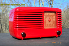 SOLD! - Jan 8, 2016 - LIPSTICK RED Vintage Deco Retro 1948 Philco Transitone 48-200 AM Bakelite Tube Radio Works! Wow! , Vintage Radio - Philco, Retro Radio Farm  - 2