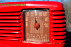 SOLD! - Jan 8, 2016 - LIPSTICK RED Vintage Deco Retro 1948 Philco Transitone 48-200 AM Bakelite Tube Radio Works! Wow! , Vintage Radio - Philco, Retro Radio Farm  - 9