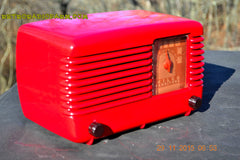 SOLD! - Jan 8, 2016 - LIPSTICK RED Vintage Deco Retro 1948 Philco Transitone 48-200 AM Bakelite Tube Radio Works! Wow! , Vintage Radio - Philco, Retro Radio Farm  - 7