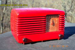 SOLD! - Jan 8, 2016 - LIPSTICK RED Vintage Deco Retro 1948 Philco Transitone 48-200 AM Bakelite Tube Radio Works! Wow! , Vintage Radio - Philco, Retro Radio Farm  - 6