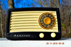 SOLD! - Jan 6, 2016 - BLUETOOTH MP3 READY - Black and Ivory Retro Vintage Black Ivory 1951 Admiral 5X13N Tube AM Radio - [product_type} - Admiral - Retro Radio Farm