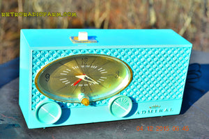 SOLD! - Jan 15, 2016 - POWDER BLUE Mid Century Fleur-De-50s Vintage Atomic Age 1959 Admiral Y3359 Tube AM Radio Clock Alarm Works! - [product_type} - Admiral - Retro Radio Farm