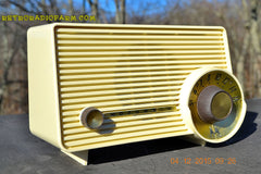 SOLD! - Jan 13, 2016 - IVORY Mocha Dragster Mid Century Retro Jetsons 1957-58 Motorola 5T22W Tube AM Radio Near Mint! , Vintage Radio - Motorola, Retro Radio Farm  - 8