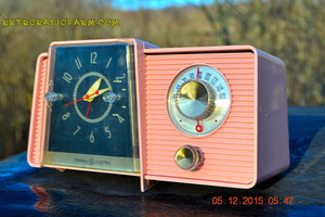 SOLD! - Mar 24, 2016 - POWDER PINK Mid Century Jetsons 1959 General Electric Model C-406A Tube AM Clock Radio Works Great Some Issues - [product_type} - General Electric - Retro Radio Farm