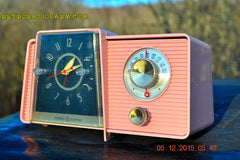 SOLD! - Mar 24, 2016 - POWDER PINK Mid Century Jetsons 1959 General Electric Model C-406A Tube AM Clock Radio Works Great Some Issues , Vintage Radio - General Electric, Retro Radio Farm  - 2
