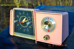 SOLD! - Mar 24, 2016 - POWDER PINK Mid Century Jetsons 1959 General Electric Model C-406A Tube AM Clock Radio Works Great Some Issues , Vintage Radio - General Electric, Retro Radio Farm  - 3