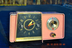 SOLD! - Mar 24, 2016 - POWDER PINK Mid Century Jetsons 1959 General Electric Model C-406A Tube AM Clock Radio Works Great Some Issues , Vintage Radio - General Electric, Retro Radio Farm  - 1