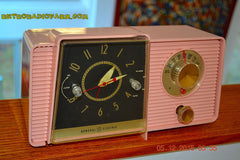 SOLD! - Mar 24, 2016 - POWDER PINK Mid Century Jetsons 1959 General Electric Model C-406A Tube AM Clock Radio Works Great Some Issues , Vintage Radio - General Electric, Retro Radio Farm  - 4