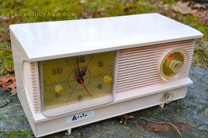 SOLD! - Feb 10. 2016 - POWDER PINK Vintage Antique Mid Century 1961 Arvin Model 51R23 Tube AM Clock Radio Restored and Very Rare! - [product_type} - Arvin - Retro Radio Farm