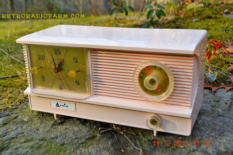 SOLD! - Feb 10. 2016 - POWDER PINK Vintage Antique Mid Century 1961 Arvin Model 51R23 Tube AM Clock Radio Restored and Very Rare!