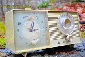 SOLD! - Feb 20, 2016 - OLIVE TAUPE Mid Century Jetsons 1959 General Electric Model C-305A Tube AM Clock Radio Totally Restored! - [product_type} - General Electric - Retro Radio Farm
