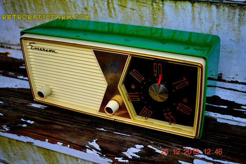 SOLD! - Dec 27, 2015 - PRISTINE EMERALD GREEN  956 Emerson Model 876B Tube AM Radio Mid Century Rare Color Sounds Great!