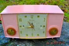 Load image into Gallery viewer, SOLD! - Mar 5, 2016 - PINK MARTINI Vintage Mid Century Retro Jetsons 1959 Bulova Model 170 Tube AM Clock Radio WORKS! , Vintage Radio - Bulova, Retro Radio Farm  - 2